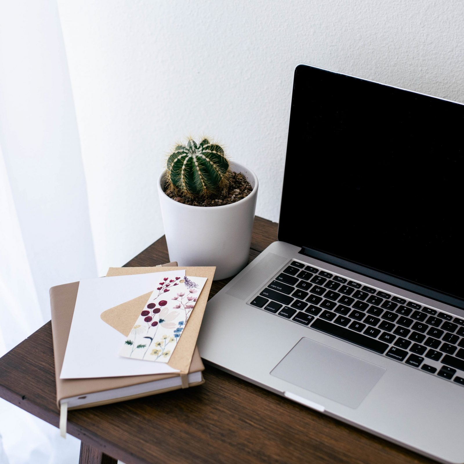 laptop, cactus, and books stacked on a wooden desk